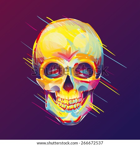 illustration of colorful skull, vintage graphics for t-shirt designs