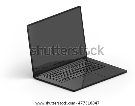 Illustration of 3D black laptop isolated with black screen on white background isometric