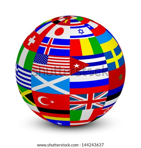 Illustration of 3d sphere with world flags
