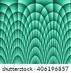 Illustration of dark monochromatic blue turquoise abstract checkered texture with many twirled shapes with checkered pattern of repeating glowing boxes or blocks - stock photo