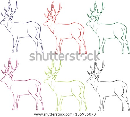 illustration of deer in contour lines