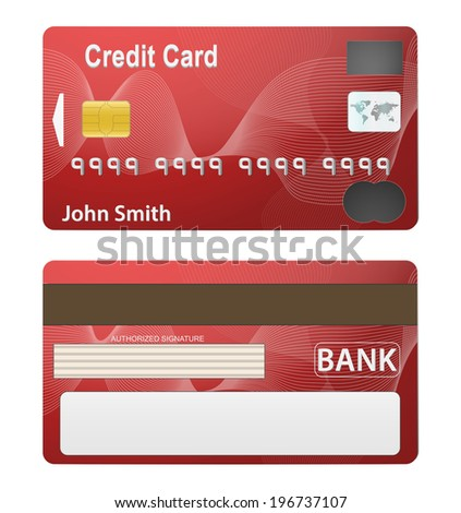 Vector Illustration Detailed Beautiful Credit Card Stock Vector ...