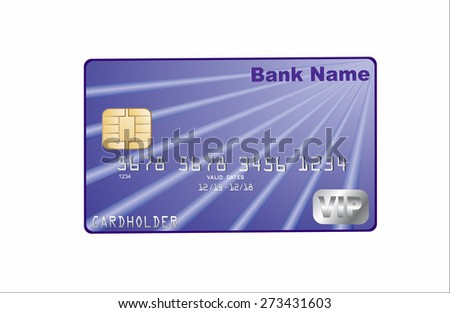 Illustration of detailed glossy credit card on white background