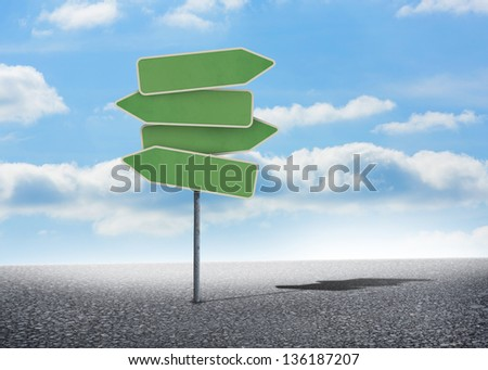 Illustration of empty signposts with bright blue sky