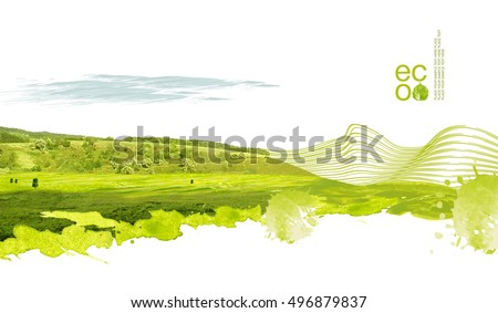 Illustration of environmentally friendly planet. Green hills and field with tree planting from watercolor stains,isolated on a white background. Think Green. Ecology Concept. Environmental awareness.