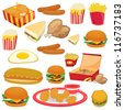 illustration of food on a white background - stock vector