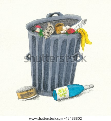 Illustration of Garbage Can