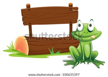 Illustration of green frog with sign - EPS VECTOR format also available in my portfolio.