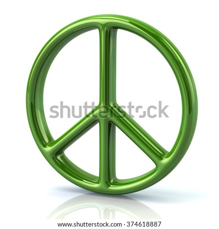 Illustration of green peace symbol isolated on white background