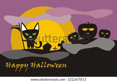 Illustration of Halloween cat-death on cemetery