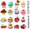 illustration of isolated set of cute cake on white - stock vector