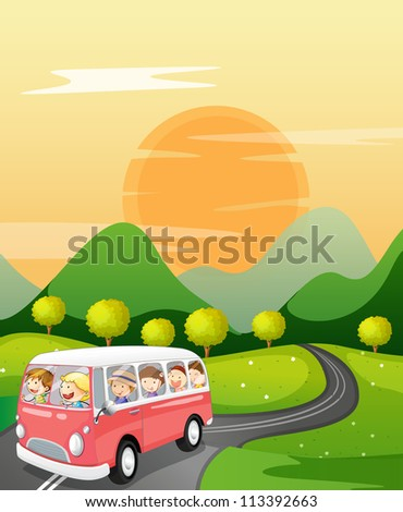 illustration of kids in a bus in beautiful nature