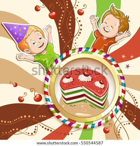 Illustration of kids with cake and candies