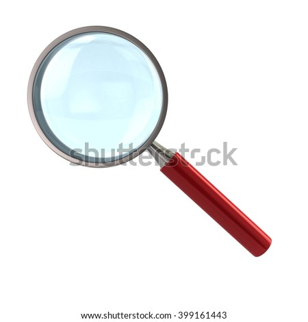 Illustration of magnifying glass with red handle isolated on white background