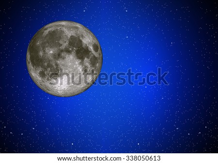 Illustration of night sky with simulated simulated full moon
