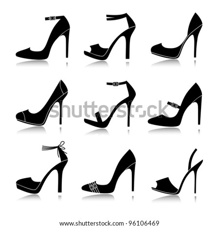 Illustration of nine different models of high-heeled shoes. Vector version also available.