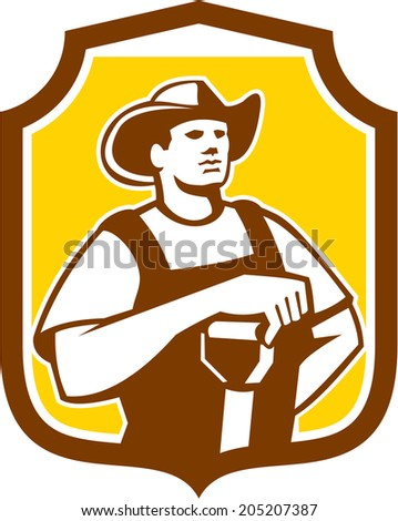 Illustration of organic farmer holding shovel set inside shield crest done in retro style on isolated background.