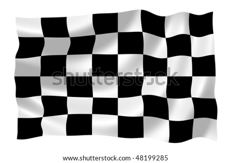 Illustration of racing flag waving in the wind
