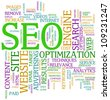 Illustration of seo wordcloud tags - search engine optimization - stock photo