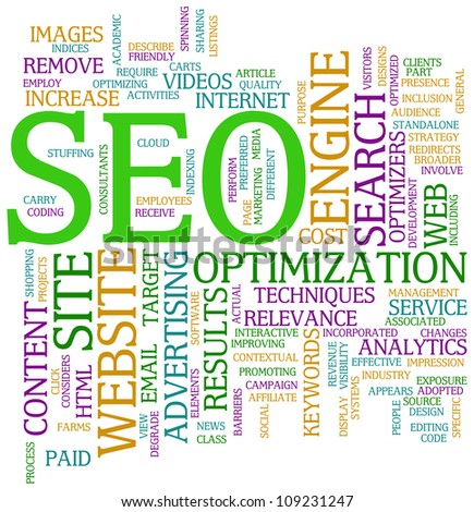 Illustration of seo wordcloud tags - search engine optimization