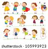 Illustration of simple kids playing - stock photo