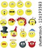 illustration of smile icon set isolated - stock vector