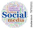 Illustration of social media concept. Social Media Wordcloud in circular shape - stock photo