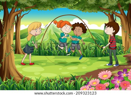 Illustration of the children playing with the rope at the jungle