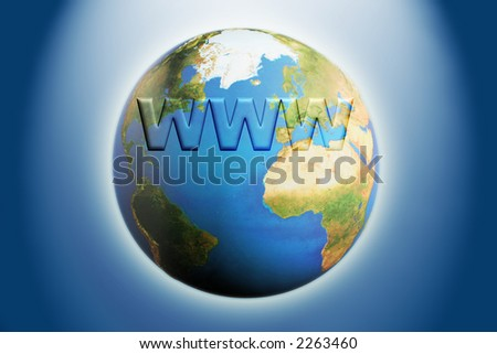 illustration of the globe with www written across it in 3d