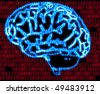 illustration of the humans brain and binary code - stock photo