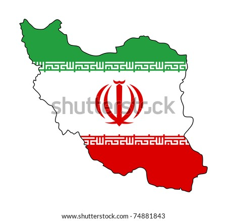Illustration of the Iran flag on map of country; isolated on white background.