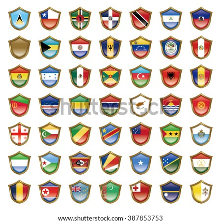 Illustration of the national flag. Badge collection.