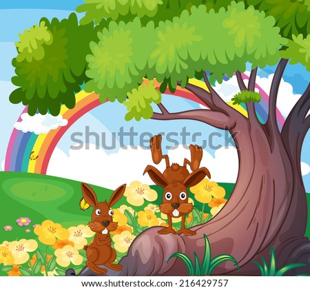 Illustration of the playful wild animals under the big tree