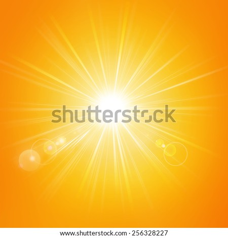 Illustration of the sun isolated on an orange background