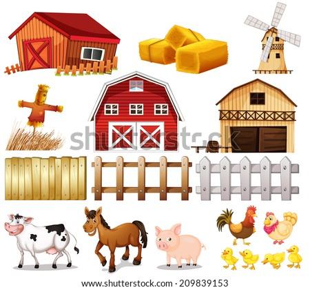 Illustration Things Animals Found Farm On Stock Vector 180776840