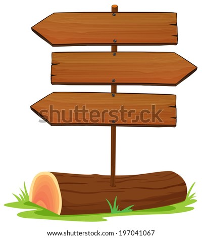 Illustration of the wooden arrowboards on a white background