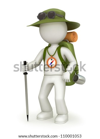 Illustration of traveler with green rucksack, hat, black sunglasses, compass on the neck and walking stick. Isolated on white