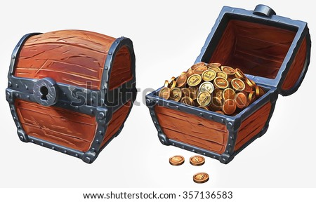 Illustration of treasure chest icons in locked and in open positions