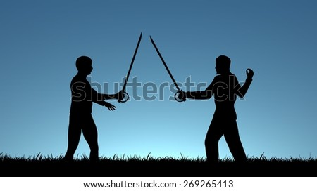 Illustration of two men sword fighting
