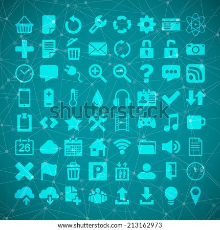 Illustration of 64 Universal Flat Icon Set for web desighers, ui, sites, mobile etc.
