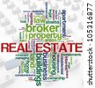 Illustration of wordcloud representing words related to concept of real estate. - stock photo