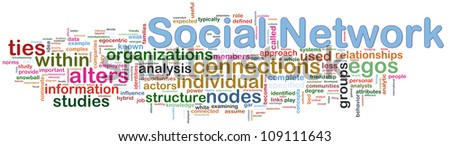 Illustration of words of social networking wordcloud