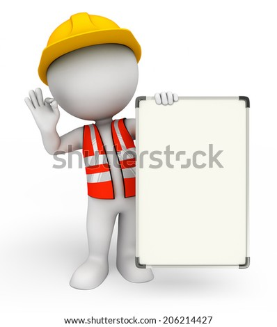 Illustration of young worker with display board