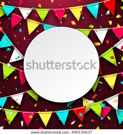 Illustration Party Background with Clean Card, Colorful Bunting and Confetti - raster