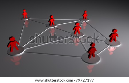 Illustration rendered of the concept of people connected