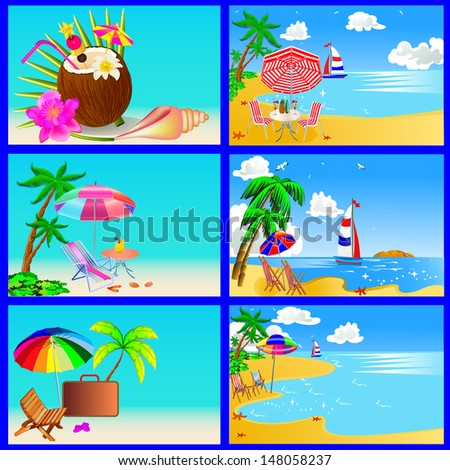 illustration sea beach with palm by sailboat chair and umbrella
