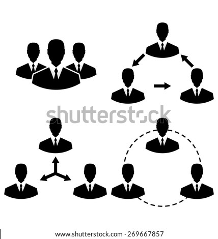 Illustration set icons human resources and management - raster