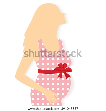 Illustration silhouette of pregnant woman.