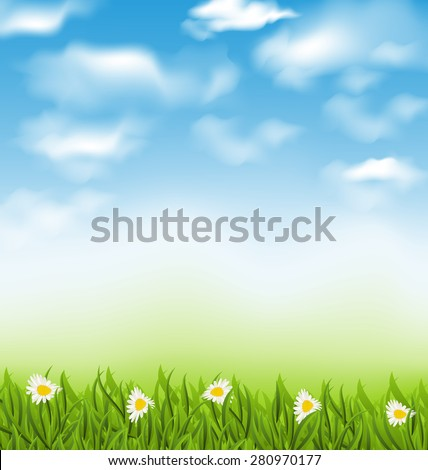 Illustration spring natural background with blue sky, clouds, grass field and flowers chamomiles - raster