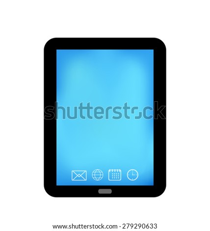 Illustration tablet computer with panel navigation, smart device isolated - raster